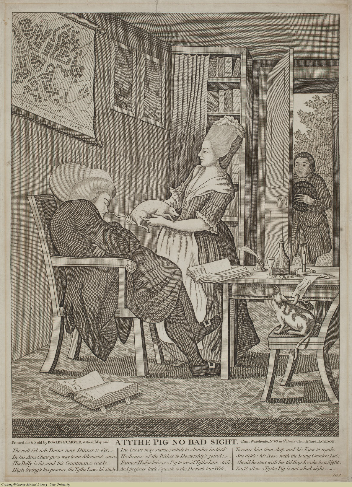 A Tythe Pig No Bad Sight. Anonymous, 18th C, Engraving. Subject: Doctor's Wealth.