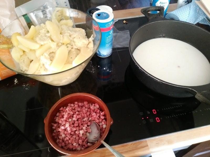 Bacon, potatoes and dumplings and milk