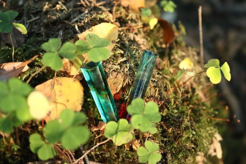 blue and orange crystals