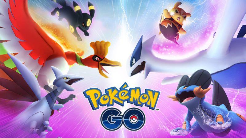 Several Pokémon around the Pokémon Go logo