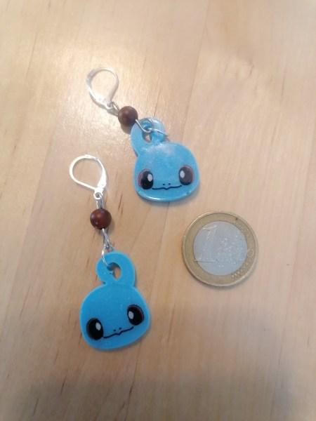 Squirtle head earrings