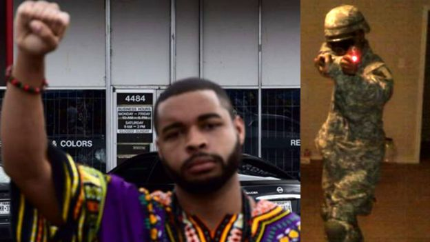 Image caption Facebook images show Micah Johnson giving a black power salute and dressed in military uniform