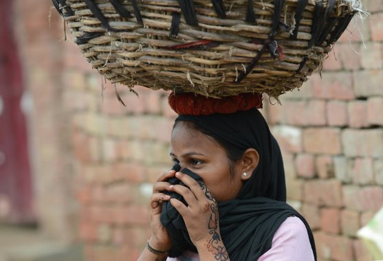 this picture taken on August 10, 2012, a manual scavenger covers her nose while carrying human waste on her head after cleaning the dry toilets in Nekpur village, Muradnagar in Uttar Pradesh. AFP/Getty