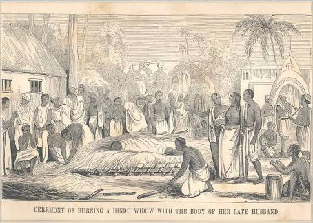 """""""Ceremony of Burning a Hindu Widow with the Body of her Late Husband"""", from Pictorial History of China and India, 1851."""