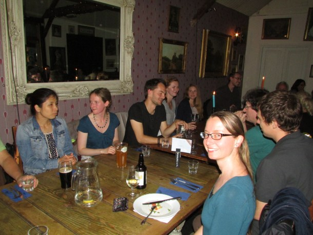 Pub dinner with Stephanie Höhn, one of the organizers, in the foreground.
