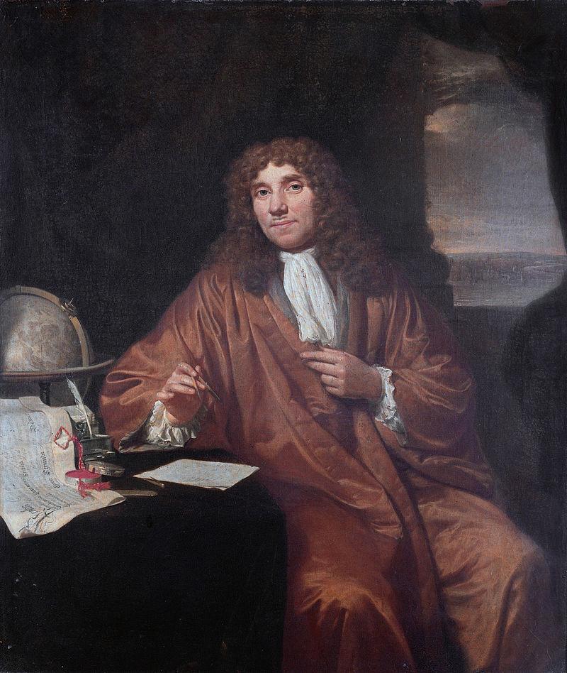 Antonie van Leeuwenhoek by Jan Verkolje. Public domain image from Wikimedia Commons.