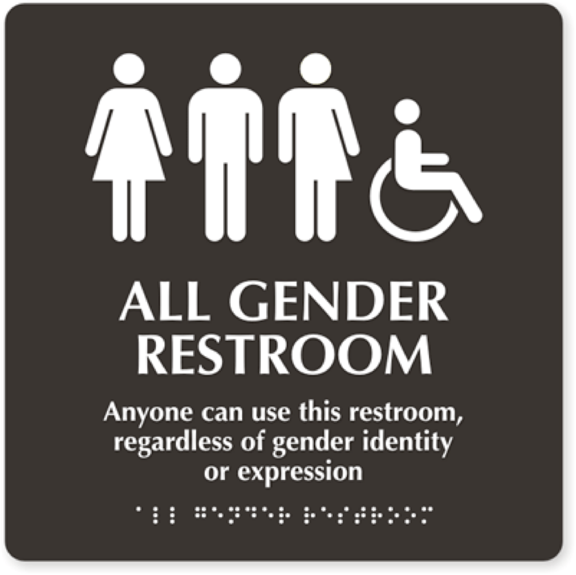 """sign with white text and braille that reads """"ALL GENDER RESTROOM, Anyone can use this restroom regardless of gender identity or expression,"""" and including the symbol for disabled accessibility."""