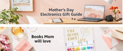 """Screen shot of """"Tech"""" page banner, pink wall backdrop, pink shit everywhere, bold text reads """"Mothers Day Electronics Gift Guide""""; and a different pinkified page header banner I somehow clicked myself into, text reads """"Books Mom Will Love."""""""