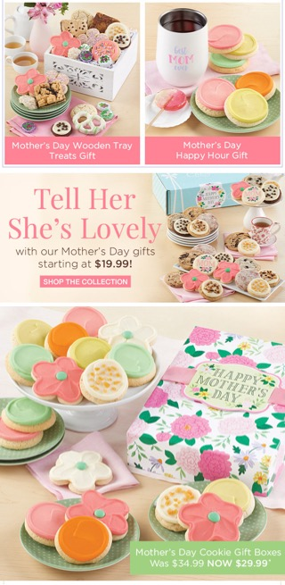 Mothers Day email ad from Cheryl's Cookies, continued, with pictures of (mostly) pink and white cookies, pink flower shaped cookies, or both.