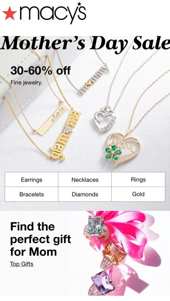 """Macy's email ad: pictures of necklaces and rings, text reads """"Mothers Day Sale"""" and 30-60% off Fine Jewelry"""""""