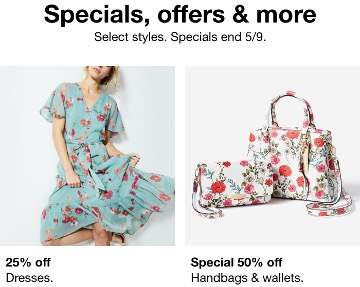 Nordstrom Rack email ad: Woman in blue dress printed with pick flowers; two white handbags printed with pink flowers.
