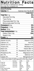 Nutrition Label for Hummus. See below for transcript...