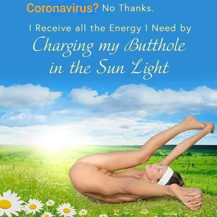 "As a naked person contorts to expose their anus to sunlight in the midst of a meadow, writing on the image states: ""Coronavirus? No thanks. I receive all the energy I need by charging my butthole in the sunlight."