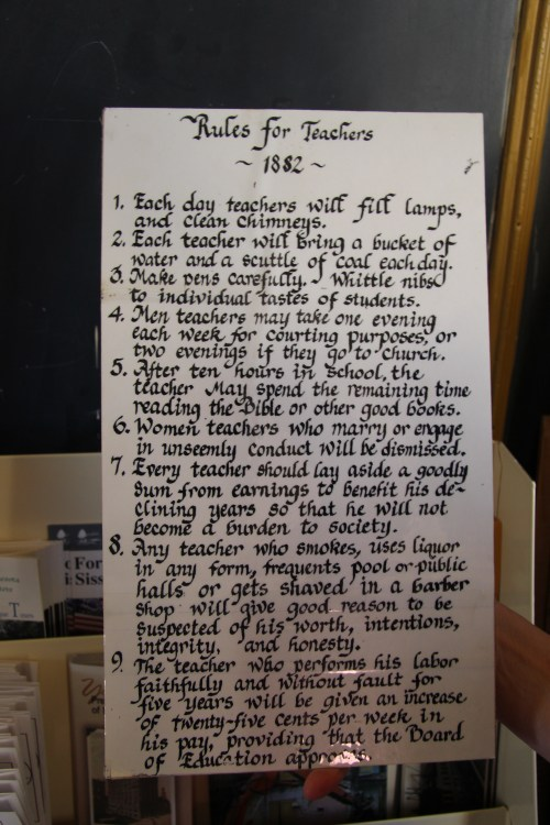 The historical society had rules for teachers.