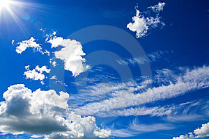 Stock Image - Cumulus clouds in blue sky