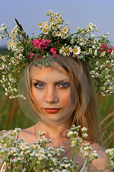 Free Stock Image - Girl with wild flowers