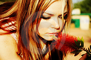 Stock Photography - Woman and flower