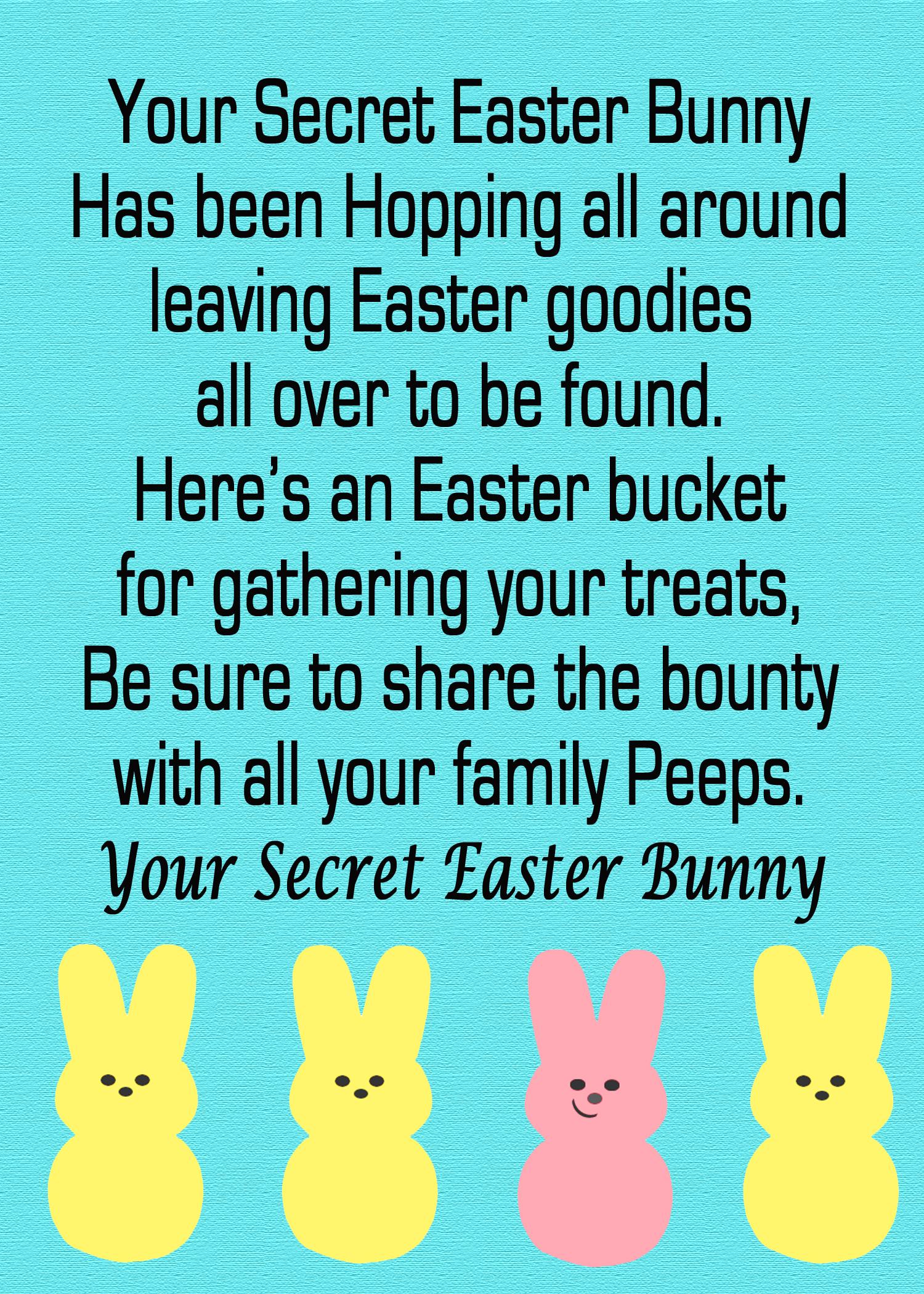 Secret Easter Bunny Free Printable