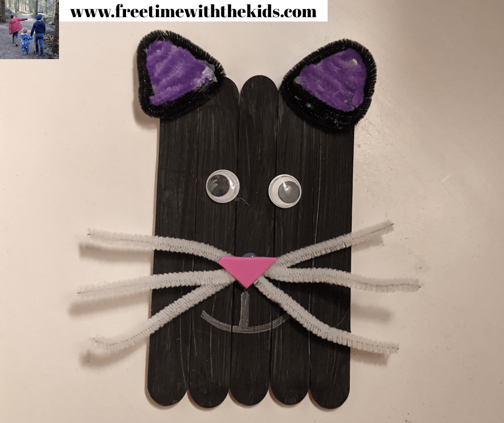 Cat lolly stick craft | Halloween children's activities | Free Time with the Kids | Cheap children's crafts