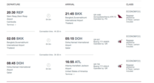 Flight Schedule from Cambodia to USA with Qatar Airways