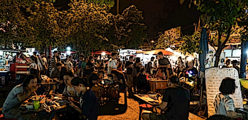 crowded market sound effects asia