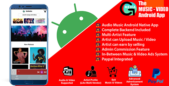 GoMedia – Multi Artist Music and Video Android App with