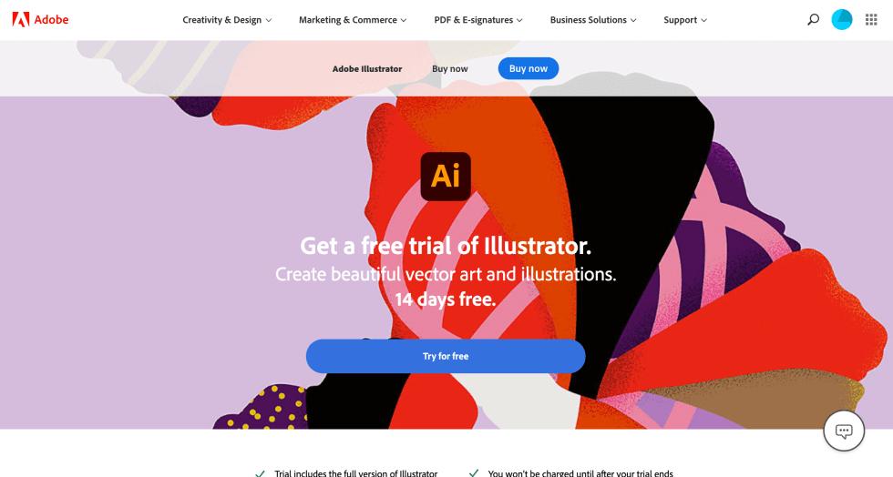Adobe Illustrator Free Trial Landing Page Screenshot