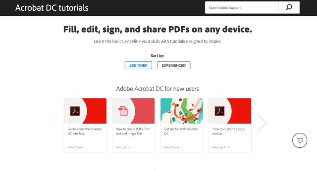 Adobe Acrobat Pro Tutorials Page