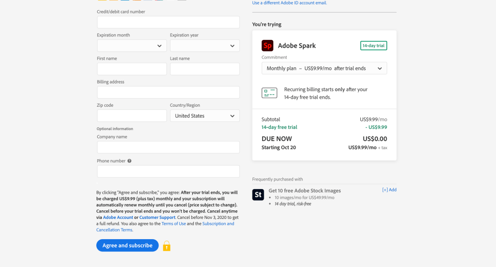 Adobe Spark Checkout Page Screenshot