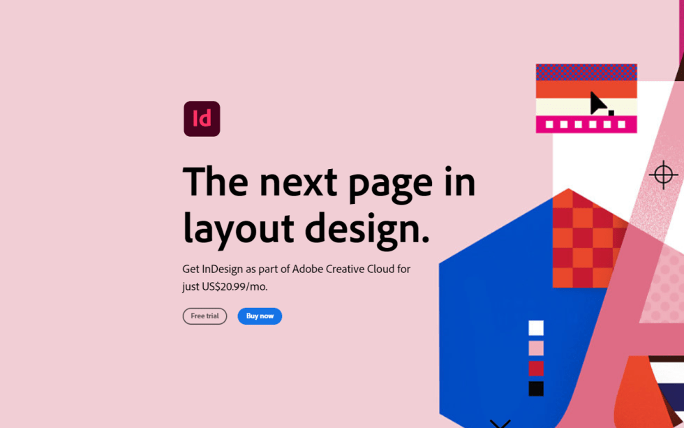 Adobe InDesign Sign Up Landing Page Screenshot