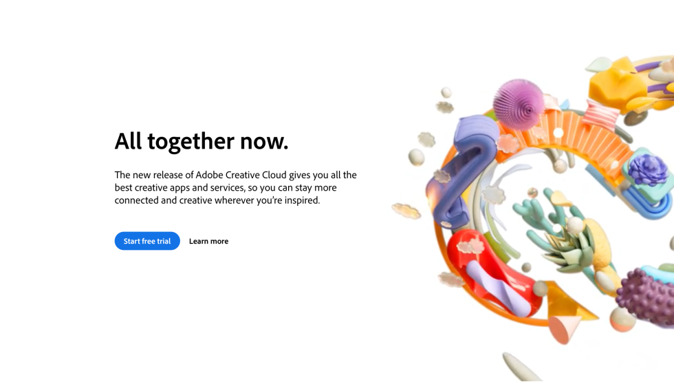 Adobe Creative Cloud Free Trial Sign Up Landing Page