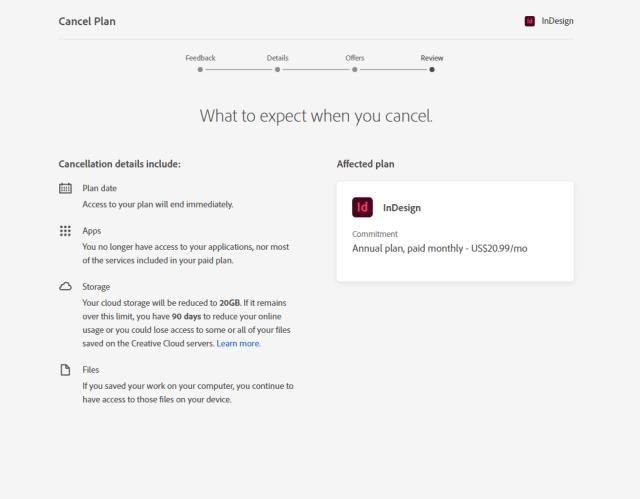Adobe InDesign Cancellation Page Screenshot