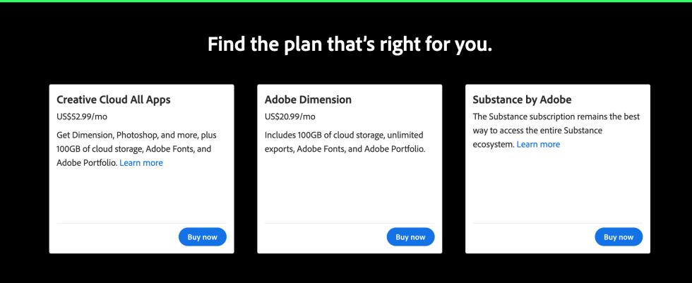 Adobe Dimension Plans