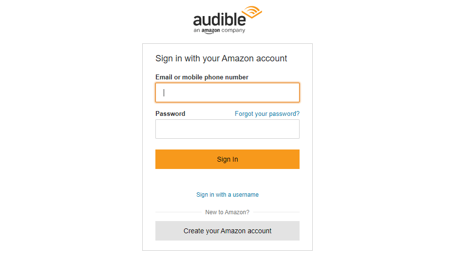 Audible Sign In Page