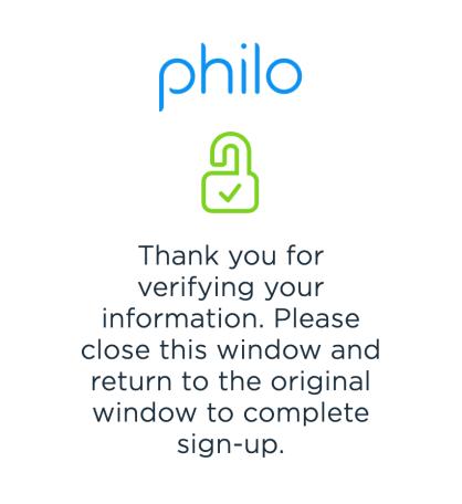 Verify Philo Email Address