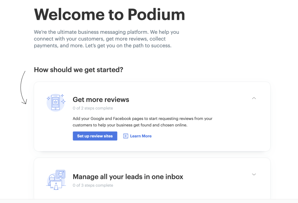 Podium Welcome Page