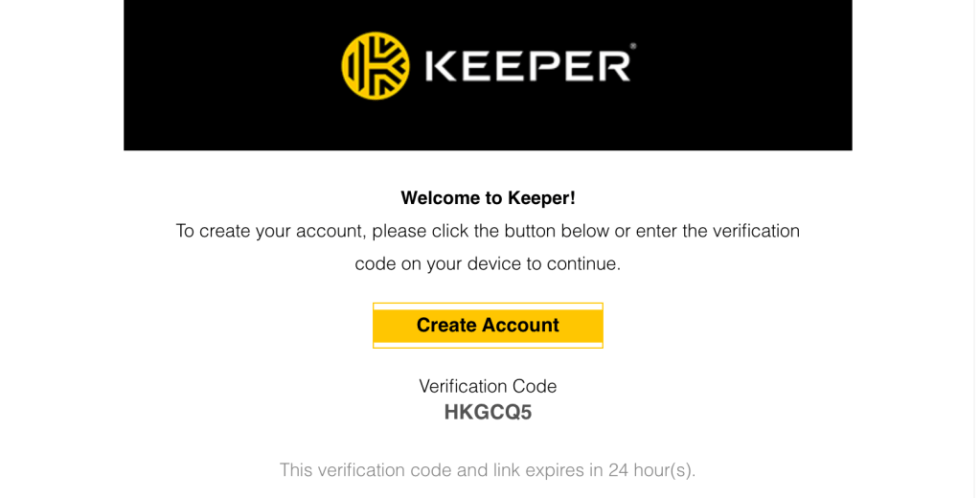Keeper Security Verification Email