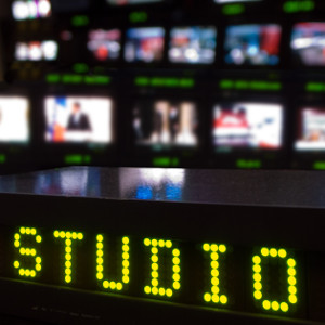 Video studio with displays