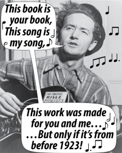 Woody Guthrie photo with word balloons