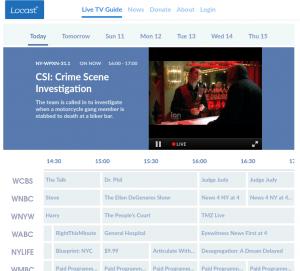 Locast.orgs TV grid
