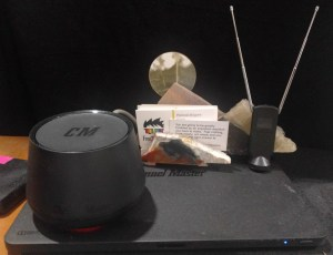 Two receivers, a goofy little antenna, and my lovely business card holder