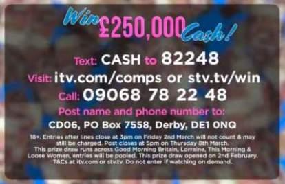 Lorraine  Cash Competition £250,000