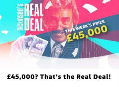 ITV Dickinson's Real Deal prize £45,000 2019