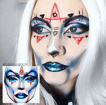 According to her blog, this is one of the funnest and wildest looks she has created. She re-created milk1422's facecharts. Milk1422 is a facechart artist on Instagram. (Photo by Chelsea Clement)