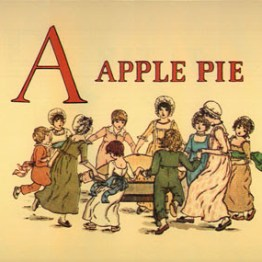 Children dancing around a giant apple pie. Vintage childrens book illustration.