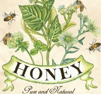 A lovely vintage print illustration of a honey brand