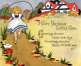 Vintage Happy Birthday Greeting with a little girl playing jump rope