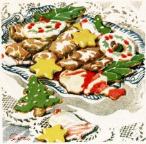 This free vintage images featuring a spread of colorful holiday cookies.