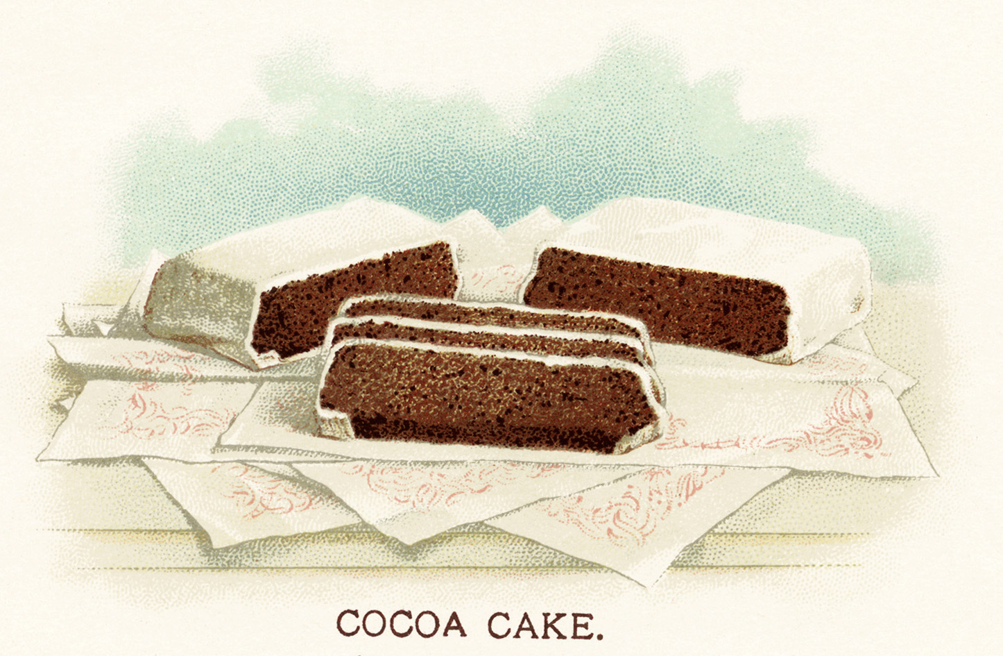 This vintage image features a yummy cocoa layer cake