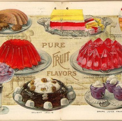 This antique jell-o dessert advertisement features classic gelatin treats.